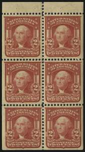 Sale Number 984, Lot Number 781, 1902-08 Issues (Scott 314A-322)2c Carmine, Ty. I, Booklet Pane of Six (319g), 2c Carmine, Ty. I, Booklet Pane of Six (319g)