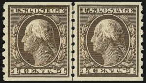 Sale Number 984, Lot Number 844, 1910-13 Washington-Franklin Issue (Scott 374-396)4c Brown, Coil (395), 4c Brown, Coil (395)