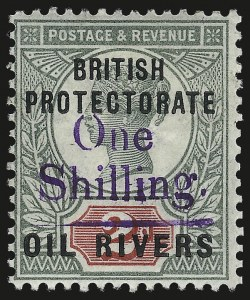 Sale Number 987, Lot Number 2355, New Zealand thru Papua New GuineaNIGER COAST PROTECTORATE, 1893, 1sh on 2p Green & Carmine, Violet Surcharge (29; SG 37), NIGER COAST PROTECTORATE, 1893, 1sh on 2p Green & Carmine, Violet Surcharge (29; SG 37)