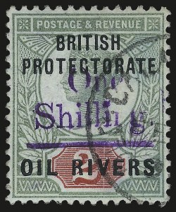 Sale Number 987, Lot Number 2356, New Zealand thru Papua New GuineaNIGER COAST PROTECTORATE, 1893, 1sh on 2p Green & Carmine, Violet Surcharge (29; SG 37), NIGER COAST PROTECTORATE, 1893, 1sh on 2p Green & Carmine, Violet Surcharge (29; SG 37)