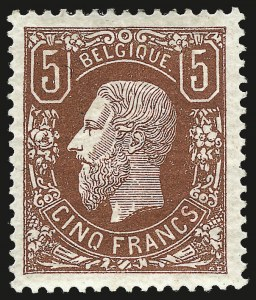 Sale Number 987, Lot Number 2406, Argentina thru BelgiumBELGIUM, 1875, 5fr Deep Brown Red (39), BELGIUM, 1875, 5fr Deep Brown Red (39)