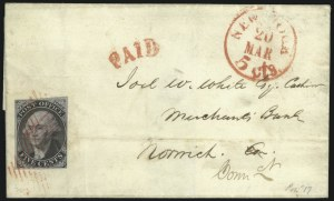 "Sale Number 987, Lot Number 2810, NY Postmasters Provisional, 1847 IssueNew York N.Y., 5c Black on Blue, ""ACM"" Initials (9X2), New York N.Y., 5c Black on Blue, ""ACM"" Initials (9X2)"