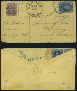 Sale Number 988, Lot Number 110, Flag-of-Truce Mail: Petersburg-Old Point ComfortSalisbury Prison, N.C, Salisbury Prison, N.C
