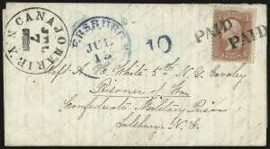 Sale Number 988, Lot Number 112, Flag-of-Truce Mail: Petersburg-Old Point ComfortSalisbury Prison, N.C, Salisbury Prison, N.C