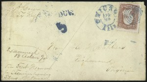 Sale Number 988, Lot Number 113, Flag-of-Truce Mail: Petersburg-Old Point ComfortCamp Douglas, Ill, Camp Douglas, Ill