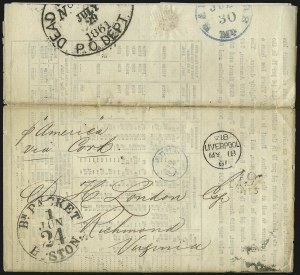 Sale Number 988, Lot Number 20, Suspension of U.S. Post Office Across-the-Lines RoutesLiverpool MY 18 61, Liverpool MY 18 61