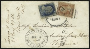 Sale Number 988, Lot Number 21, Suspension of U.S. Post Office Across-the-Lines Routes1c Blue, Ty. V, 3c Dull Red, Ty. III (24, 26), 1c Blue, Ty. V, 3c Dull Red, Ty. III (24, 26)