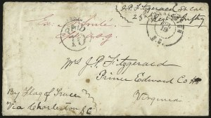 "Sale Number 988, Lot Number 220, Flag-of-Truce Mail: Pocotaligo-Port RoyalU.S.S. Dragoon, ""Confederate 50"", off Hilton Head S.C, U.S.S. Dragoon, ""Confederate 50"", off Hilton Head S.C"