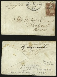 Sale Number 988, Lot Number 234, Flag-of-Truce Mail: Shreveport-New OrleansCamp Ford, Tyler Tex, Camp Ford, Tyler Tex