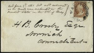 Sale Number 988, Lot Number 27, Suspension of U.S. Post Office Across-the-Lines RoutesWashington Ark. May 23 (1861), Washington Ark. May 23 (1861)