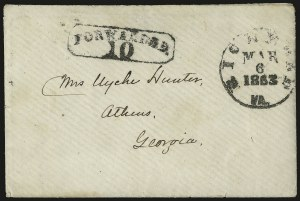 Sale Number 988, Lot Number 298, Covert Mail RoutesRichmond Va. Mar. 6, 1863, Richmond Va. Mar. 6, 1863