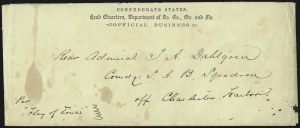 Sale Number 988, Lot Number 305, Official Flag-of-Truce Mail: U.S. Blockading SquadronConfederate States. Head Quarters, Department of So. Ca., Ga. and Fla. Official Business, Confederate States. Head Quarters, Department of So. Ca., Ga. and Fla. Official Business