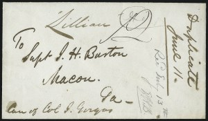 Sale Number 988, Lot Number 306, Blockade-Run Mail: Inbound - The Burton CorrespondenceLiverpool to Macon Ga. via. St. Georges and Wilmington, Liverpool to Macon Ga. via. St. Georges and Wilmington