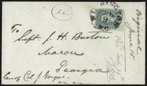 Sale Number 988, Lot Number 307, Blockade-Run Mail: Inbound - The Burton Correspondence10c Greenish Blue, Die A (11c), 10c Greenish Blue, Die A (11c)