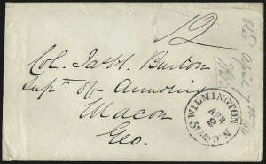 Sale Number 988, Lot Number 309, Blockade-Run Mail: Inbound - The Burton CorrespondenceWilmington N.C. 5 Paid Apr. 2 (1864), Wilmington N.C. 5 Paid Apr. 2 (1864)