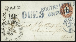 Sale Number 988, Lot Number 34, Southern Letter Unpaid MailSOUTHN. LETTER UNPAID, SOUTHN. LETTER UNPAID