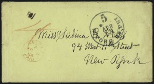 Sale Number 988, Lot Number 346, Blockade-Run Mail: Outbound - The Wells CorrespondenceCharleston S.C. to New York via Wilmington and Nassau, Charleston S.C. to New York via Wilmington and Nassau