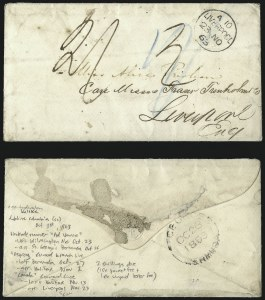 Sale Number 988, Lot Number 356, Blockade-Run Mail: Outbound via St. Georges, BermudaColumbia S.C. to Liverpool via Wilmington, St. Georges and Halifax, Columbia S.C. to Liverpool via Wilmington, St. Georges and Halifax