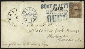 Sale Number 988, Lot Number 36, Southern Letter Unpaid MailSOUTHN. LETTER UNPAID, SOUTHN. LETTER UNPAID