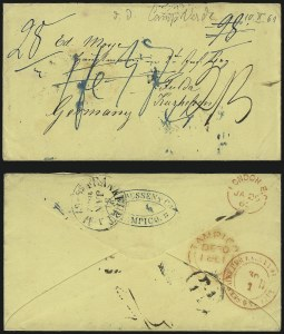Sale Number 988, Lot Number 385, Trans-Rio Grande Mail: The Moye Correspondence-Texas to GermanyCamp Verde Tex. to Fulda, Germany, Camp Verde Tex. to Fulda, Germany