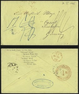 Sale Number 988, Lot Number 386, Trans-Rio Grande Mail: The Moye Correspondence-Texas to GermanyCamp Verde Tex. to Kassel, Germany, Camp Verde Tex. to Kassel, Germany