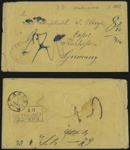 Sale Number 988, Lot Number 387, Trans-Rio Grande Mail: The Moye Correspondence-Texas to GermanyFort Brown Tex. to Kassel, Germany, Fort Brown Tex. to Kassel, Germany