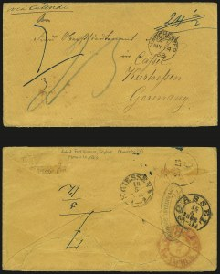 Sale Number 988, Lot Number 390, Trans-Rio Grande Mail: The Moye Correspondence-Texas to GermanyFort Brown Tex. to Kassel, Germany, Fort Brown Tex. to Kassel, Germany