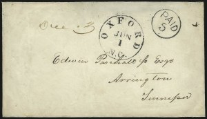 Sale Number 988, Lot Number 43, Mail Between C.S.A. and U.S. Post OfficesOxford N.C. Jun. 1 (1861) -- First Day of the Confederate Postal System, Oxford N.C. Jun. 1 (1861) -- First Day of the Confederate Postal System