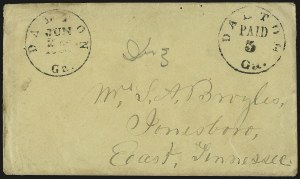 Sale Number 988, Lot Number 44, Mail Between C.S.A. and U.S. Post OfficesDalton Ga., 5c Black entire (20XU1), Dalton Ga., 5c Black entire (20XU1)