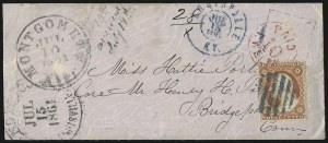 Sale Number 988, Lot Number 55, Across-the-Lines Private Express Mail: Adams ExpressMontgomery Ala., 10c Red entire (59XU3), Montgomery Ala., 10c Red entire (59XU3)