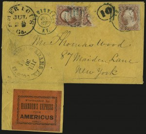 Sale Number 988, Lot Number 56, Across-the-Lines Private Express Mail: Adams ExpressForwarded by Harnden's Express from Americus Geo, Forwarded by Harnden's Express from Americus Geo