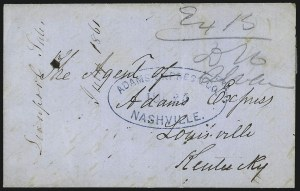 Sale Number 988, Lot Number 61, Across-the-Lines Private Express Mail: Adams ExpressAdams Express Co. Nashville, Jul. 25 (1861), Adams Express Co. Nashville, Jul. 25 (1861)
