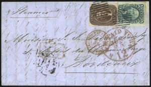 Sale Number 988, Lot Number 64, Across-the-Lines Private Express Mail: Adams ExpressNew Orleans to France, Jun. 16, 1861, New Orleans to France, Jun. 16, 1861