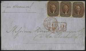 Sale Number 988, Lot Number 65, Across-the-Lines Private Express Mail: Adams ExpressNew Orleans to France, Jul. 12, 1861, New Orleans to France, Jul. 12, 1861