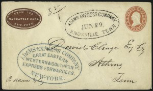 Sale Number 988, Lot Number 68, Across-the-Lines Private Express Mail: Adams ExpressAdams Express Company, Great Eastern, Western & Southern Express Forwarders, New-York, Adams Express Company, Great Eastern, Western & Southern Express Forwarders, New-York
