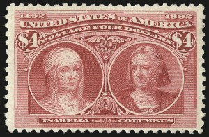 Sale Number 989, Lot Number 166, Columbian Issue$4.00 Columbian (244), $4.00 Columbian (244)