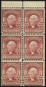 Sale Number 989, Lot Number 179, 1902-08 Issue 2c Carmine, Ty. I, Booklet Pane of Six, Horizontal Watermark (319g var), 2c Carmine, Ty. I, Booklet Pane of Six, Horizontal Watermark (319g var)