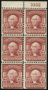 Sale Number 989, Lot Number 180, 1902-08 Issue 2c Carmine, Ty. I, Booklet Pane of Six, Horizontal Watermark (319g var), 2c Carmine, Ty. I, Booklet Pane of Six, Horizontal Watermark (319g var)