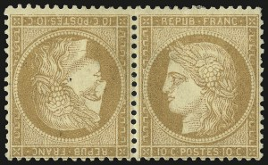 Sale Number 989, Lot Number 333, France FRANCE, 1870, 10c Bister on Yellowish, Tete-Beche Pair (54a; Yvert 36b), FRANCE, 1870, 10c Bister on Yellowish, Tete-Beche Pair (54a; Yvert 36b)
