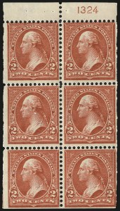 Sale Number 991, Lot Number 1016, 1900 Booklet Issue2c Red, Ty. IV, Booklet Panes of Six, Vertical Wmk. (279Bk), 2c Red, Ty. IV, Booklet Panes of Six, Vertical Wmk. (279Bk)
