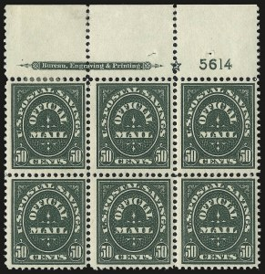 Sale Number 991, Lot Number 1477, Official Postal Savings (O121-O126)50c Dark Green, Official Postal Savings (O122), 50c Dark Green, Official Postal Savings (O122)
