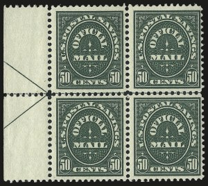 Sale Number 991, Lot Number 1478, Official Postal Savings (O121-O126)50c Dark Green, Official Postal Savings (O122), 50c Dark Green, Official Postal Savings (O122)