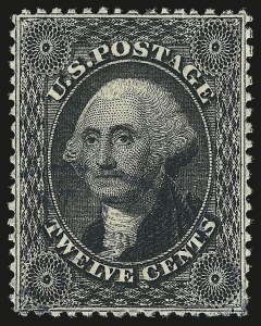 Sale Number 992, Lot Number 2097, 12c-90c 1857-60 Issue (Scott 36-39)12c Black, Plate 1 (36), 12c Black, Plate 1 (36)