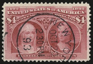 Sale Number 992, Lot Number 2336, 1893 Columbian Issue ($2.00 thru $5.00, Scott 242-245)$4.00 Columbian (244), $4.00 Columbian (244)
