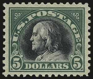 Sale Number 992, Lot Number 2521, 1917-19 Issues (Scott 481-524)$5.00 Deep Green & Black (524), $5.00 Deep Green & Black (524)
