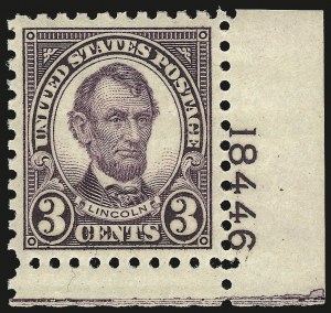 Sale Number 992, Lot Number 2544, 1922-29 and Later Issues (Scott 574 onwards)3c Violet, Perf 10 (584), 3c Violet, Perf 10 (584)