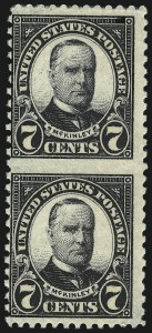 Sale Number 992, Lot Number 2557, 1922-29 and Later Issues (Scott 574 onwards)7c Black, Vertical Pair, Imperforate Between (639a), 7c Black, Vertical Pair, Imperforate Between (639a)