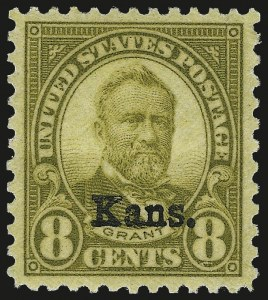 Sale Number 992, Lot Number 2560, 1922-29 and Later Issues (Scott 574 onwards)8c Kans. Ovpt. (666), 8c Kans. Ovpt. (666)