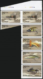 Sale Number 992, Lot Number 2576, 1922-29 and Later Issues (Scott 574 onwards)29c Fishing Flies, Horizontal Pair, Imperforate Between (2545b), 29c Fishing Flies, Horizontal Pair, Imperforate Between (2545b)