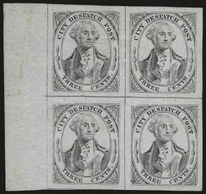 Sale Number 992, Lot Number 2675, Parcel Post, Carriers (Q, JQ, LO, L)(Greig's) City Despatch Post, New York N.Y., 3c Black on Grayish (40L1), (Greig's) City Despatch Post, New York N.Y., 3c Black on Grayish (40L1)